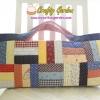 กระเป๋าแฮนด์เมด ต่อผ้า ทรงยาว ใส่ของที่มีขนาดยาวได้ เช่น ไม้นิตติ้ง หรืออุปกรณ์เย็บปักต่างๆ ขนาด 44x18 cm