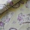 ผ้าคอตตอนลินิน ญี่ปุ่น รุ่น Vintage Collage ลายป้ายกุหลาบสีเขียวอ่อน