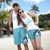 เสื้อคู่รัก ชุดคู่รักเที่ยวทะเล ชาย+หญิง เสื้อกล้ามสีขาวสกรีนตัวอักษร กางเกงขาสั้นสีฟ้า +พร้อมส่ง+