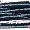 พู่ไหมเส้นยาว แถบลายเกลียวสีฟ้า-ชมพู พู่สีดำ กว้าง 3.8 ซม(1หลา/90ซม)
