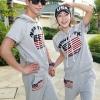 เสื้อคู่รัก ชุดคู่รักเที่ยวทะเล ชาย+หญิง เสื้อฮูดสีเทา กางเกงขาสั้นสีเทา แต่งลายธงชาติ สกรีน NEW YORK +พร้อมส่ง+