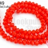 คริสตัลจีน ทรงซาลาเปา สีแดงขุ่น 4มิล(1เส้น)