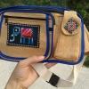 กระเป๋าคาดเอว สีครีม มีซิปสี่ชั้น มีช่องใส่มือถือ