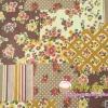ผ้าคอตตอนลินิน ญี่ปุ่น รุ่น Vintage Collage ลาย Patchwork โทนสีน้ำตาล เนื้อหนานิ่ม
