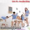 ชุดครอบครัว พ่อแม่ลูกสาวเซต 3 ตัว ชายเสื้อคอปก + เสื้อคอปกเว้าไหล่ + ลูกสาวเสื้อคอปก ลายสีฟ้าขาว +พร้อมส่ง