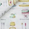 ผ้าคอตตอน / ผ้าฝ้ายญี่ปุ่นลาย กาแฟ ชา และของว่าง ของ Yuwa Life Collection พื้นสีขาว เนิ้อบาง ตัดเสื้อได้ค่ะ มี 4 สีค่ะ