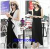 K784 ชุดเดรสคลุมท้องแฟชั่นเกาหลี โทนสีดำ เสื้อตัวนอกสีขาว เดรสตัวในสีดำยาว เนื้อผ้านิ่ม