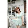 เสื้อแฟชั่นเกาหลีผ้าชีฟองสีเขียวอมฟ้า