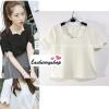 เสื้อแฟชั่นผ้าฮานาโกะ เสื้อทำงาน สีขาว คอและแขนเป็นหยักๆ สวยหวาน สินค้าคุณภาพ ราคาไม่แพง