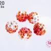 บอลเพชร เกรดดี 10 มิล ไล่สี สีส้มแดง (1ชิ้น)