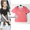 เสื้อแฟชั่นผ้าฮานาโกะ เสื้อทำงาน สีชมพู คอและแขนเป็นหยักๆ สวยหวาน สินค้าคุณภาพ ราคาไม่แพง