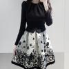 size L เดรสแฟชั่นเกาหลี ผ้า Cotton Spendex มีซิบซ่อนด้านข้าง แบบสวม สีดำ