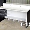 "T-121 โต๊ะคอมต่างระดับ ""เมลามีน"" 120 ซม. (ขาว-ดำเคฟล่า)"
