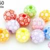 ลูกปัดพลาสติก คละสี ลูกบอล 11มิล (1ขีด/100กรัม)