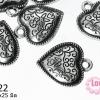 จี้โรเดียม หัวใจลายเถาวัลย์ 20x25 มิล (1ชิ้น)