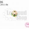 ลูกปัดกังไสทิเบต สีชมพู-เขียว-ขาว 12X11มิล(1ชิ้น)