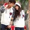 เสื้อกันหนาวคู่รัก ชาย+หญิง เสื้อกันหนาวแบบซิป มีฮูด สีขาวแขนเทา + +พร้อมส่ง+