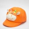หมวกเด็ก หมวกแก๊ปเด็กเล็ก หมวกหน้าสัตว์ หน้าวัว สีส้ม มีสายปรับขนาดหมวกด้านหลัง