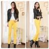 กางเกงยีนส์ผ้ายืด สีเหลือง
