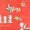 ผ้าคอตตอนญี่ปุ่น ลายอาหารสไตล์วินเทจ สีแดง ของ Yuwa Life Collection เนื้อบาง
