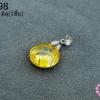 จี้หินมณีใต้น้ำ(เพชรพญานาค) กลม สีเหลืองทอง 14มิล (1ชิ้น)