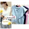 เสื้อแฟชั่น ผ้าฮานาโกะ สีฟ้า แต่งระบายอกสวยหวาน สินค้าคุณภาพ ราคาไม่แพง