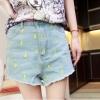 กางเกงขาสั้น สไตล์เกาหลี Jeans ลายสายฟ้า สีฟ้า