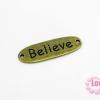 จี้โรเดียม สีทองเหลือง ลายตัวอักษร Believeแบบกลม ขนาด ความกว้าง 10 มิล x ยาว 17 มิล