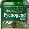 Puritan Pycnogenol 100 mg 30 แคปซูล สารสกัดจากเปลือกสนฝรั่งเศส เปลือกสนมาริไทม์ สุดยอดอาหารเสริม ลดฝ้า กระ จุดด่างดำ ต้านอนุมูลอิสระ ผิวขาวใส