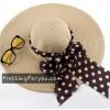 หมวกแฟชั่นเกาหลี หมวกกันแดดทรงปีกกว้าง : สีครีม MN008
