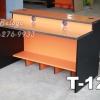 """T-121 โต๊ะคอมต่างระดับ """"เมลามีน"""" 120 ซม. (สีส้ม-ขาดำเคฟล่า)"""