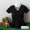 เสื้อผ้าแฟชั่น เสื้อทำงาน ผ้าฮานาโกะ สีดำ เอวระบาย แต่งสายไขว้ที่คอเก๋ๆ แบบสวยหรูมากค่ะ ใส่ได้ทุกโอกาส