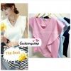 เสื้อแฟชั่น ผ้าฮานาโกะ สีชมพู แต่งระบายอกสวยหวาน สินค้าคุณภาพ ราคาไม่แพง