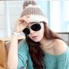 หมวกไหมพรมแฟชั่นเกาหลีพร้อมส่ง ทรงดีไซต์เก๋ แบบมีกำบังด้านหนา แต่งสีน้ำตาลขาว