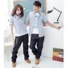 ชุดคู่รัก เสื้อคู่รักเกาหลี แฟชั่นคู่รัก ชาย+ หญิงเสื้อเชิ๊ตคอปกแขนสั้น มีกระเป๋า สีฟ้าอ่อน +พร้อมส่ง+