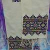 ผ้าพันคอ สีน้ำเงิน แซมสีเขียวอ่อน,สีแดง ยาว 53 นิ้ว กว้าง 7 นิ้ว
