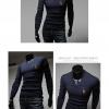 men's T-shirts แขนยาวคอวีผู้ชายเสื้อ (Navy)