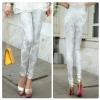 กางเกงแฟชั่นยุโรปลายFlower pants สีขาว