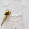 ชุดเสื้อ+กางเกง ผ้าลูกไม้ สีขาว มีซับในอย่างดี สวยหวาน สินค้าคุณภาพ ราคาไม่แพง