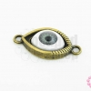 จี้รูปดวงตา ฐานสีทองเหลืองนัยตาสีเทา 15X30มิล(1ชิ้น)