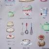 ผ้าคอตตอน / ผ้าฝ้ายญี่ปุ่นลาย กาแฟ ชา และของว่าง ของ Yuwa Life Collection พื้นสีเทา เนิ้อบาง ตัดเสื้อได้ค่ะ มี 4 สีค่ะ