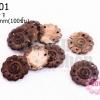 กระดุมกะลา ดอกไม้ 4รู 25มิล(100ชิ้น)