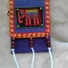 กระเป๋าคล้องคอใส่เหรียญ สีม่วง ลายปักช้าง แบบพกพาใบเล็กน่ารักๆ มาพร้อมซิปใส่เหรียญด้านหน้า