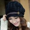 หมวกไหมพรมแฟชั่นเกาหลีพร้อมส่ง ทรงดีไซต์เก๋ แต่งเปียคาดด้านหน้า สีดำ