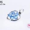 ตัวแต่งโรเดียม จี้ลูกปัด ตกแต่งสร้อยหินนำโชค รูปหัวใจล้อมเพชร สีฟ้า 13x22 มิล (1ชิ้น)
