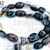 หินอาเกตดวงตา สีดำ-ขาว ทรงไข่ 10X12มิล (จีน) (1เส้น)