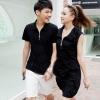 +พร้อมส่ง+ ชุดคู่รักเกาหลี แฟชั่นคู่รัก ชายเสื้อยืคอปกแขนสั้นแต่งซิบ + หญิงเดรสคอปกแขนสั้น สีดำ แต่งซิบด้านหน้า