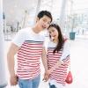 ชุดคู่รัก เสื้อคู่รักเกาหลี แฟชั่นคู่รัก ชายหญิง เสื้อยืดสีขาวลายขวางแดง +พร้อมส่ง+