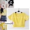 เสื้อแฟชั่น ผ้าฮานาโกะ สีเหลือง แบบน่ารักๆ มีโบว์ด้านหลัง เนื้อผ้านิ่ม อยู่ทรง ไม่ยับง่าย ใส่สบาย สินค้าคุณภาพ ราคาไม่แพง