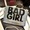 (หมดจ้า) กระเป๋าแฟชั่น BAD GIRL สีเทา หนัง PU ใส่ IPAD ได้ มีสายสะพาย ((โปรโมชั่นส่งฟรี))